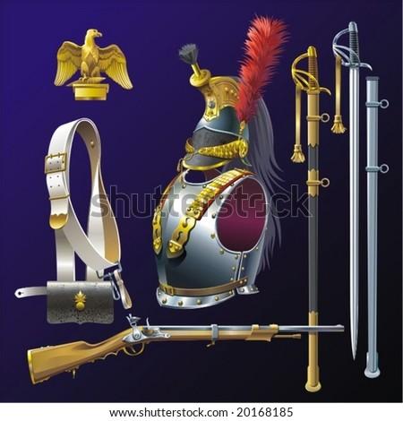 Cuirassiers armament.  Napoleonic wars. - stock vector