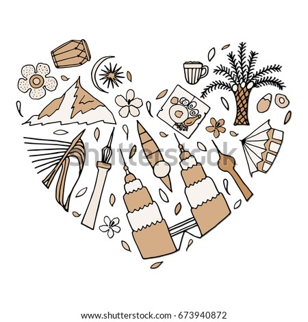 Culture And Architecture Of Malaysia In The Form Heart Hand Drawn Vector Illustration