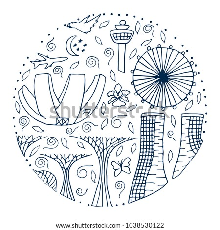 Culture And Architecture Of Singapore Hand Drawn Round Outline Vector Illustration