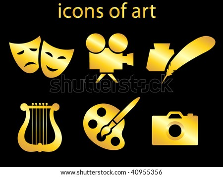 culture and art set of icons.vector illustration - stock vector
