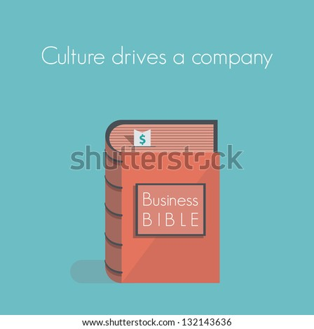Culture drives a company. Business Bible. Concept for business success motivation, commandments, rules and metaphors.