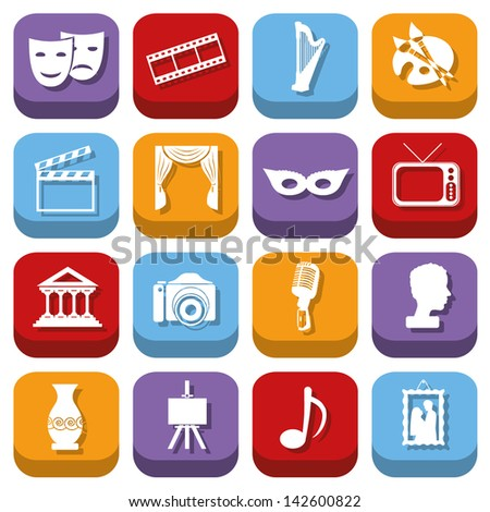culture icons - stock vector