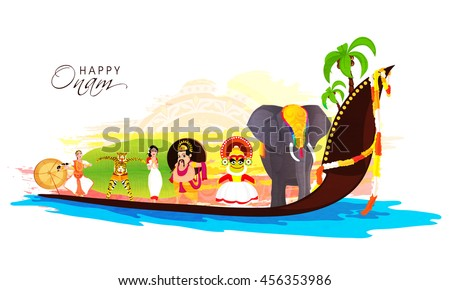 Culture of Kerala as Decorated Elephant, Kathakali Dancer, King Mahabali, Girl in Traditional Greeting pose, Puli Kali (Tiger Dance) on big snake boat for Happy Onam Festival celebration.