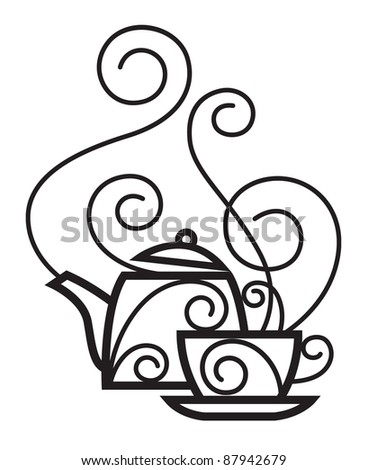 cup and kettle - stock vector
