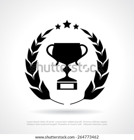 Cup and laurel wreath emblem - stock vector
