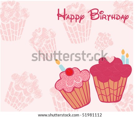 cup cake birthday card - stock vector