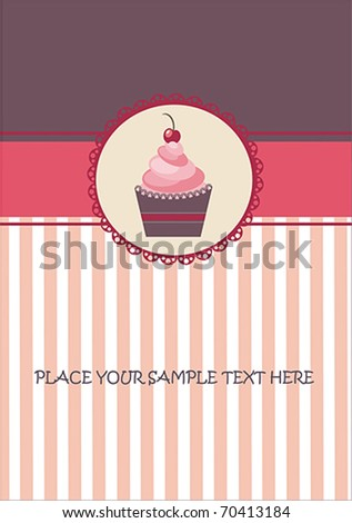 cup cake card - stock vector