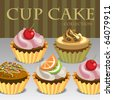 Cup Cake Collection Vector Illustration - stock vector