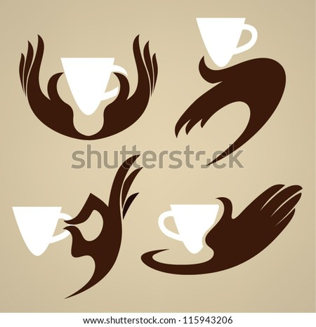 cup in your hands, coffee and tea, vector  collection - stock vector
