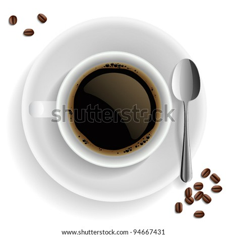 Cup of black coffee with coffee grain and spoon. On white background. - stock vector