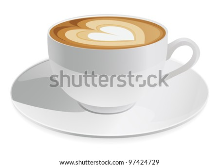 Cup of cappuccino with heart symbol. Coffee. Vector illustration on white background - stock vector