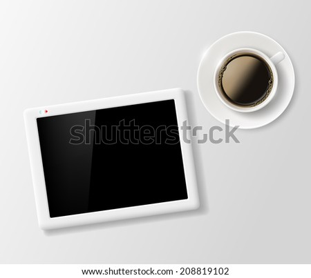 cup of coffee and a digital tablet on the table - stock vector