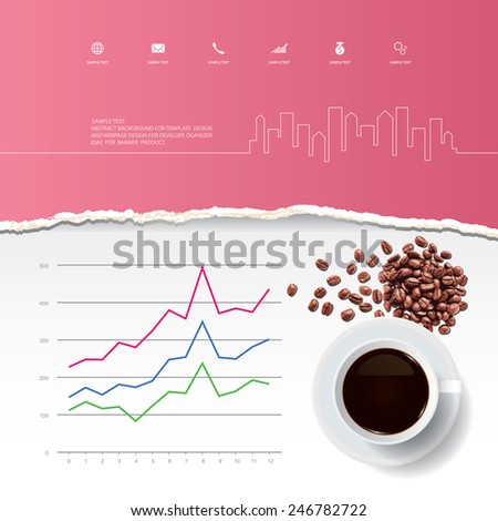 Cup of coffee and coffee beans with abstract ripped paper and business graph. Vector infographic background for template design. - stock vector