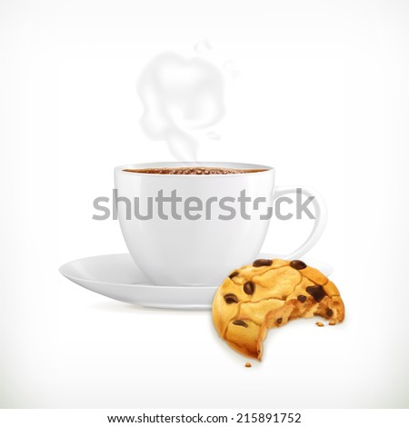 Cup of coffee and cookies, isolated vector illustration - stock vector