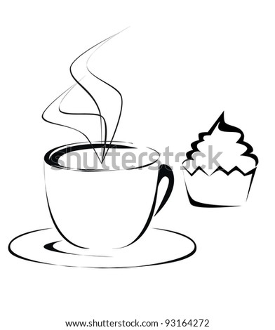 Cup of coffee and cupcake outline vector - stock vector