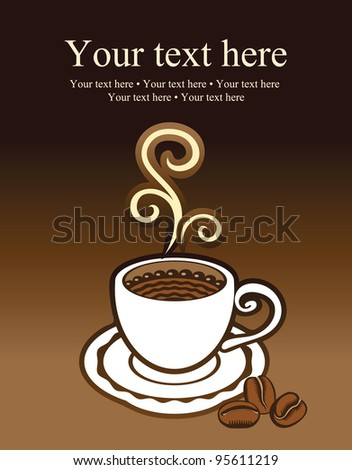 cup of coffee and grains - stock vector