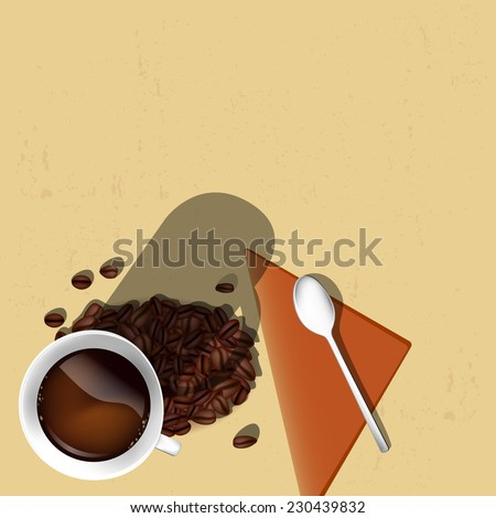 Cup of coffee, coffee beans, spoon and napkin on grungy background - place for your text. Vector illustration. - stock vector