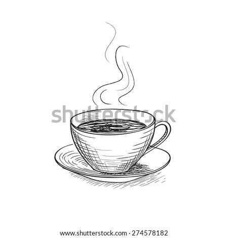 Cup of coffee. Coffee break icon. Vector stylish symbol. Doodle illustration.  - stock vector