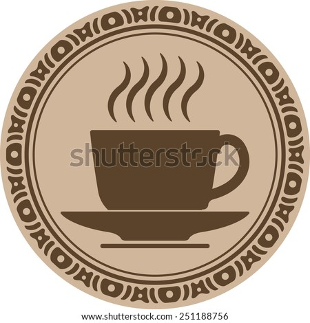 Cup of coffee into decorative round frame