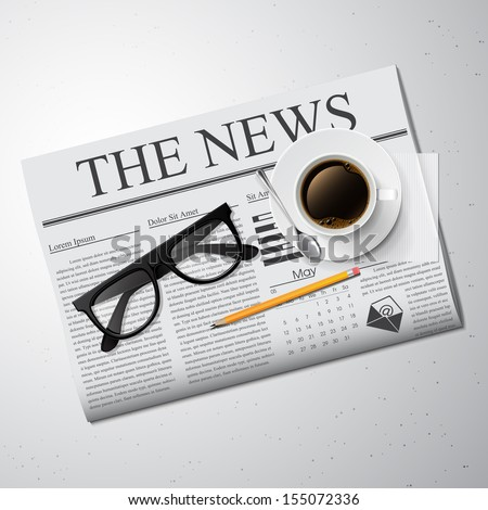 Cup of coffee, newspaper and glasses Detailed vector illustration. - stock vector