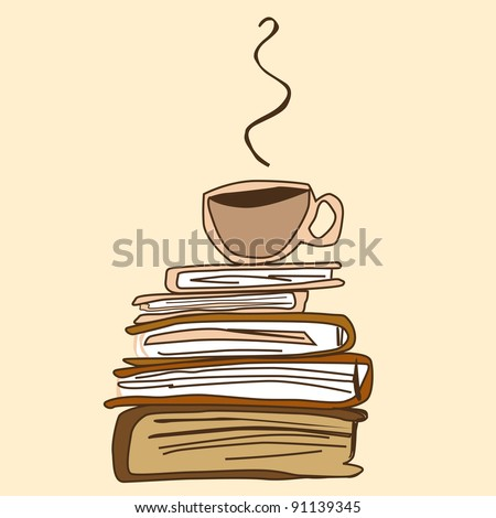 Cup of Coffee on a Book Pile - stock vector