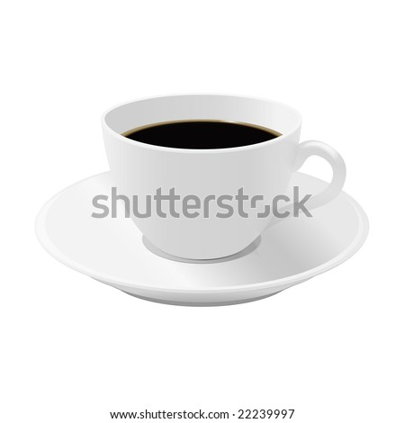 Cup of coffee on a saucer - stock vector