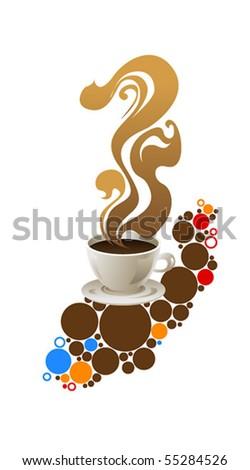 Cup of coffee on grange background - stock vector