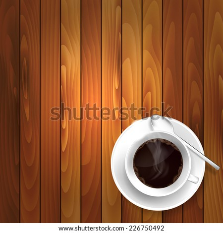 Cup of coffee on the wooden table - vector illustration