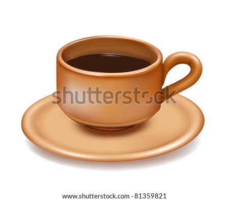 Cup of coffee on white background. Vector illustration. - stock vector