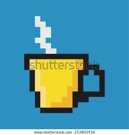 Cup of coffee or tea, pixel art - stock vector