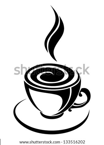 Cup of coffee. Vector black silhouette. - stock vector