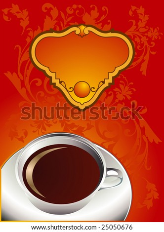 Cup of coffee with abstract design elements. Vector illustration. - stock vector