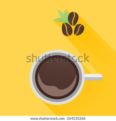 Cup of coffee with beans. Top view. Flat style - stock vector