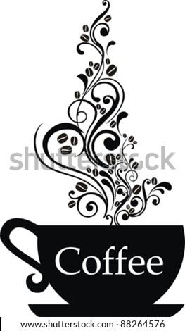 Cup of coffee with floral design elements. Vector illustration. - stock vector