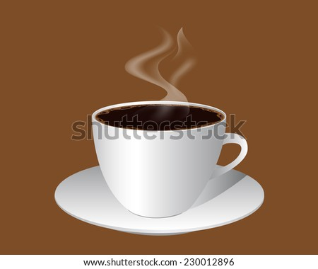 cup of coffee with froth on brown background