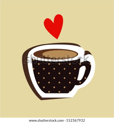 Cup of coffee with heart - stock vector