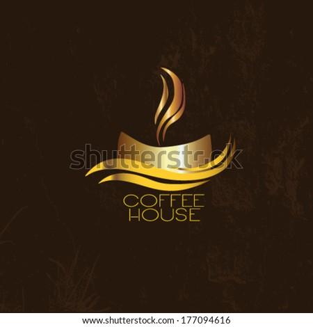 Cup of coffee with old design  - stock vector