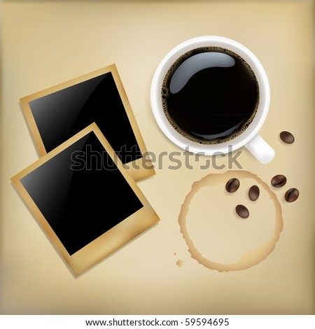 Cup Of Coffee With Photos, Grain  And Stain, On Grunge Background, Vector Illustration - stock vector