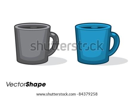 Cup of fresh coffee, cartoon vector illustration - stock vector