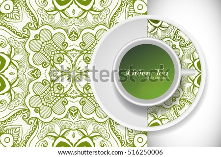 Cup of green tea with doodle ornament on a saucer and hand drawn seamless floral sketch pattern. Business coffee break or tea time concept, interior background. Isolated cup and plate decor elements