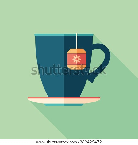 Cup of herbal tea flat square icon with long shadows. - stock vector