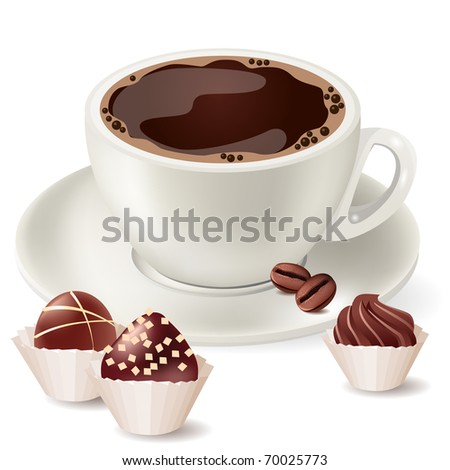 Cup of hot coffee and small sweets - stock vector