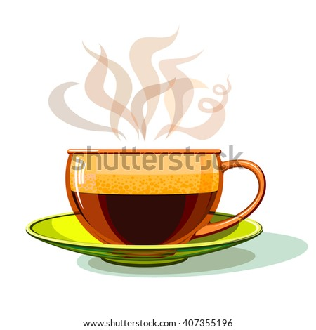 Cup of hot coffee, glass, vector. - stock vector