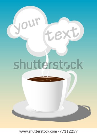 cup of hot coffee. vector illustration 2 - stock vector