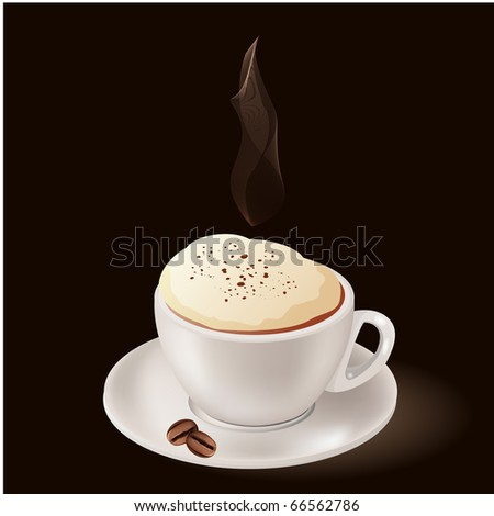 Cup of hot coffee with steam on black background - stock vector