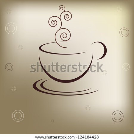 Cup of hot drink at brown background