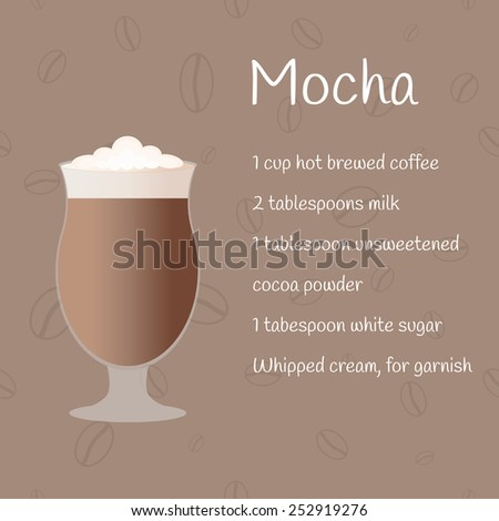 Cup of mocha on coffee background with recipe. Menu element for bar, cafe or restaurant. - stock vector