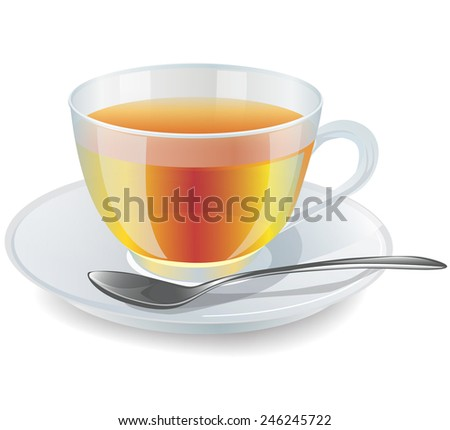 cup of tea on a white background - stock vector