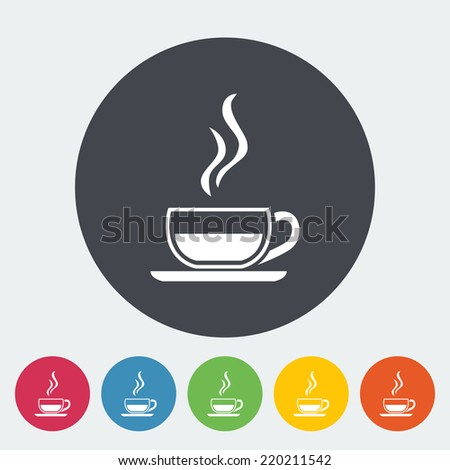 Cup of tea. Single flat icon on the button. Vector illustration. - stock vector