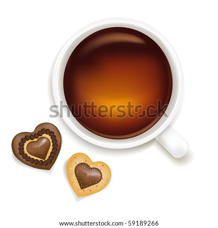 Cup Of Tea With Cookies, Isolated On White Background, Vector Illustration